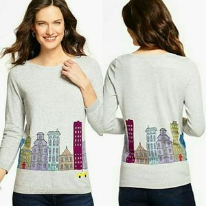 Talbots Grey Graphic Knit Sweater City Buildings